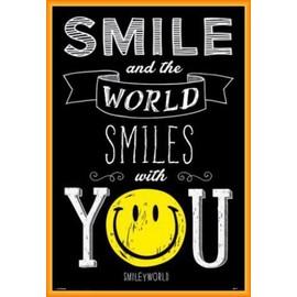 Poster Encadr�: Smileys - Smile And The World Smiles With You (91x61 Cm), Cadre Plastique, Orange