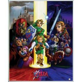 Mini Poster Encadr�: The Legend Of Zelda - Ocarina Of Time (50x40 Cm), Cadre Plastique, Blanc