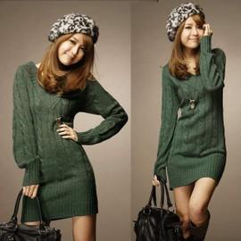 Robe Sweater Pull Mini En Col V Automne Hiver Femmes