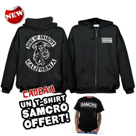 Sweat Shirt Capuche ( Veste Zipp� ) Sons Of Anarchy + 1 T-Shirt Samcro Offert