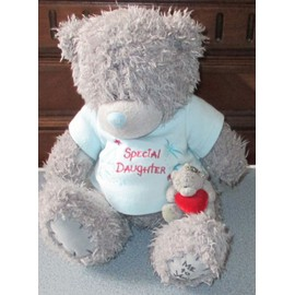 peluche ourson me to you 25cm gris avec brassire amovible bleue mention special daughter