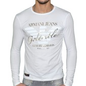 Armani Jeans - Tshirt Manches Longues - Homme - B6h02 Ml Logo Or - Blanc Or