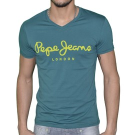 Pepe Jeans - T Shirt Manches Courtes - Homme - Original Stretch V - Woods Vert