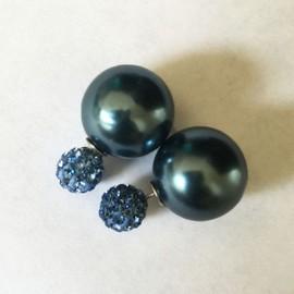 Boucles D'oreilles Double Boules (Avant Arri�re 2 Perles Boules Strass Shamballa) 2 Balls Earrings - Bijou Fantaisie , Qualit� Sup�rieure