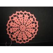 Napperon Crochet D'art Fait Main - R�f 0952 - - Rose - Diam�tre 12