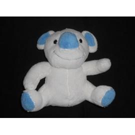 Doudou Peluche Koala Assis 20 Cm - Blanc Et Bleu