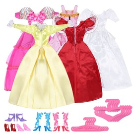 5 Pcs Joli Mini Robes Barbie + 5 Paires Chaussures + 5 Paires De Cintres Rose
