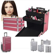Valise Rose Trolley Sp�ciale Maquillage Beaut� Cosm�tique Coiffure