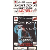 Ticket Billet Place Concert Unused Bon Jovi 1993 Paris Bercy + Billy Idol