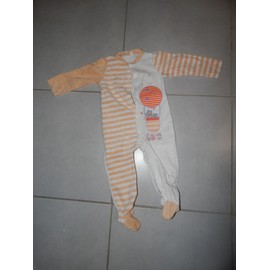 Pyjama Ray� Orange Et Cr�me 18 Mois