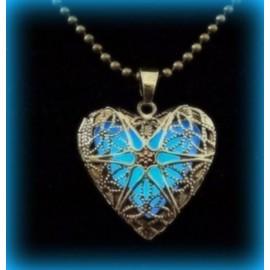 Pendentif Coeur Bleu Phosphorescent Saint Valentin