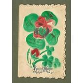 C.P. Ancienne & Illustrateur - (Chromos, Gaufr�e) - Carte Double Avec Adresse - Tr�fle, Fraise, Fer � Cheval, Noeud -