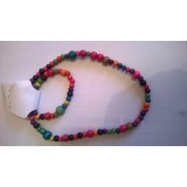 Parure Enfant Collier Et Bracelet Bois Multicolore Neuf