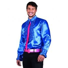Chemise Disco Bleu Homme, Taille Large