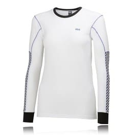 Helly Hansen Active Flow Femme Blanc Violet T Shirt Manche Longue Chaud Top Haut