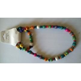 Parure Bracelet Et Collier En Bois Neuf
