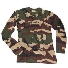 Tee Shirt Camouflage Woodland Col Rond Et Manches Longues Miltec 11065020-L Airsoft