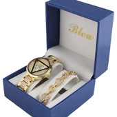 Coffret Montre Femme Dor� + Bracelet Charms Perles Collection Dolce Vita