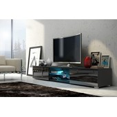 Meuble Tv Edith + Led - Noir Mat / Noir Brillant