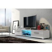 Meuble Tv Edith + Led Blanc/ Blanc Brillant