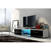 Meuble Tv Edith + Led Blanc/ Noir Brillant