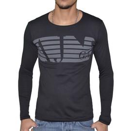 Armani Jeans - Tshirt Manches Longues - Homme - B6h74 Ml Bandes Aj - Noir