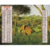 Calendrier Des Almanach Annee 1989 : Lions Et Elephant