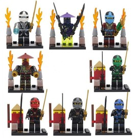 Lot De 8 Mini Figurines Ninjago Pack 6 Kai Cole Jay Zane