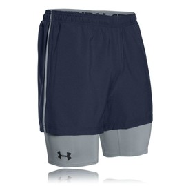 Under Armour 2 In 1 Trainer Homme Bleu Marine �vacuant Short Bermudas Cale�ons