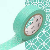Rouleau 15mm X 10m Motif Traditionnel Lagon / Line Pattern Green - Masking Tape