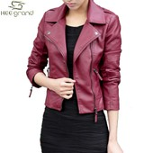 Heegrand Femme Jacket Cuir Pu Veste Mode