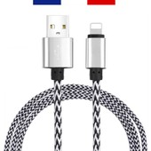 C�ble Usb 8 Pin 2 M�tres En Nylon Tress� / M�tal Renforc� Ultra-R�sistant Pour Iphone 6s+, 6+, 6s, 6, 5s, 5c, 5, Ipad, Ipod (Blanc)