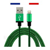 C�ble Usb 8 Pin 2 M�tres En Nylon Tress� / M�tal Renforc� Ultra-R�sistant Pour Iphone 6s+, 6+, 6s, 6, 5s, 5c, 5, Ipad, Ipod (Vert)