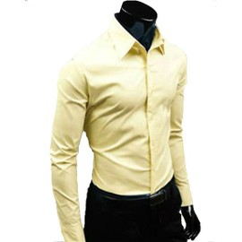 Chemise Homme Cintr�e Manches Longues Fashion Mode Slim Fit Business Col Am�ricain D�contract�e Look Branch� Classe Et Tendance