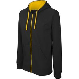 Sweat-Shirt Zippe Capuche Contrastee