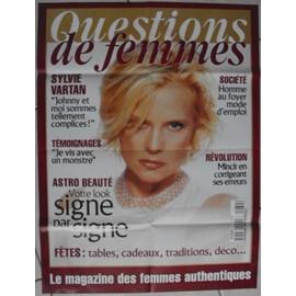 """Affiche publicitaire pour kiosque à journaux du magazine """"questions de femmes"""" avec sylvie vartan ."""