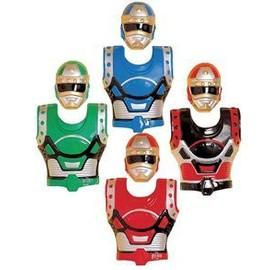 4 Plastrons Et Masques Robot Enfant Pvc 3/8 Ans