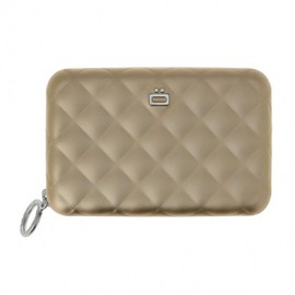 Porte Carte Alu Rose Gold, Quilted Zipper 24 Cartes, Ogon Designs