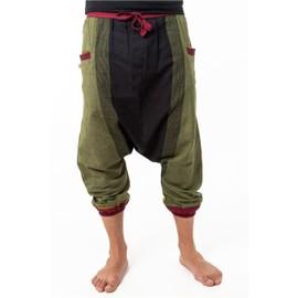 Fantazia - Pantalon Baba Cool Homme - Sarwel Pantacourt Mixte Coton Leger Noir Vert Jaune Rouge