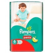 Pampers Baby-Dry Pants Couches Taille 6 (Extra Large) 16 Kg Et + X 32