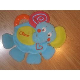 Doudou Peluche Chicco Elephant �l�phant Plat Bleu Rouge Vert Coeur Bruit Papier Froiss� Anneau Dentition Spirale