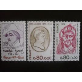 Série complète de 3 Timbres Neufs  - Personnages célèbres- Yvert et Tellier 1880 à 1882