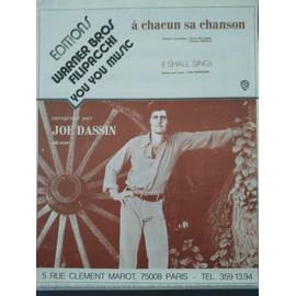 "Partition complète Joe Dassin ""A chacun sa chanson"" 1973"