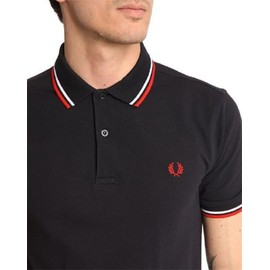 Polo Fred Perry Pour Homme Bleu Marine Logo Rouge