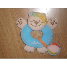 Doudou Peluche Chien Hund Dog Ours Bear Bar Orso Chico Chicco Hochet Grelot Balle Ballon Orange Bleu Casquette Jaune