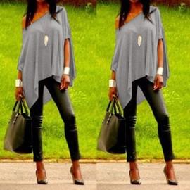 T-Shirt Longue Asym�trique Au Manches Courtes Pour Femme