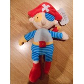 Peluche Doudou Pirate Piratisar Oiseau Perroquet Teddykompaniet Teddy Kompaniet Bastad Tr�s Doux Bleu Ray� Jaune Rouge Cr�me 26 Cm