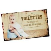Plaque De Porte Originale � Fixer Toilettes - Je Suis Au Bout Du Rouleau En M�tal Aspect Vieilli - D�coration B�b� Toilette Wc Style R�tro Vintage D'int�rieur Humoristique Maison - Class Deco