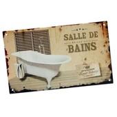 Plaque De Porte Originale � Fixer Salle De Bains - Premium Royal Bakery En M�tal Aspect Vieilli - Motifs Baignoire D�coration Style R�tro Vintage D'int�rieur Maison - Class Deco