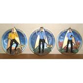 Trois Superbes Assiettes Plateaux 3d Relief Star Trek Kirk - Mr Spock - Dr Mccoy
